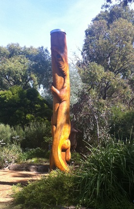 Totem lizard art at Zanthorrea Nursery